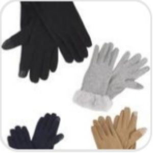 2-Finger Texting Gloves with Faux Fur Cuffs